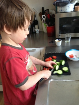 VTC helps w. the chores. Already expert w/ knives